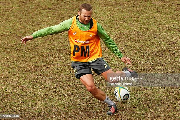 Matt Giteau kicks during an Australian Wallabies media opportunity at Weigall Sports Ground on August 5 2016 in Sydney Australia
