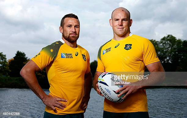 Matt Giteau of Australia and Stephen Moore of Australia pose during an Australia media session at The Lensbury Hotel on October 13 2015 in London...