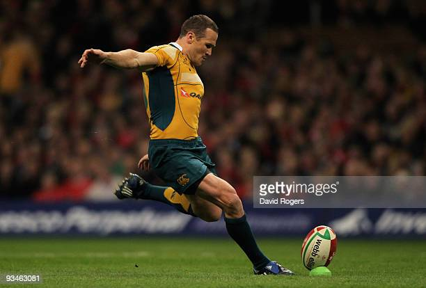 Matt Giteau of Australia kicks a conversion during the Invesco Perpetual Series match between Wales and Australia at the Millennium Stadium on...