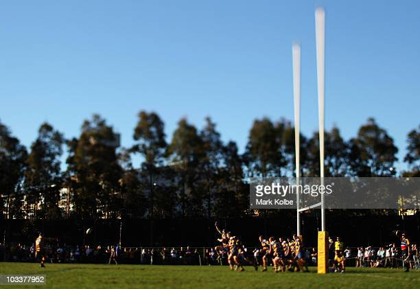 Matt Giteau of Balmain converts a try during the round 17 third division NSW Suburban Rugby Union match between Balmain and Epping at Blackmore Park...