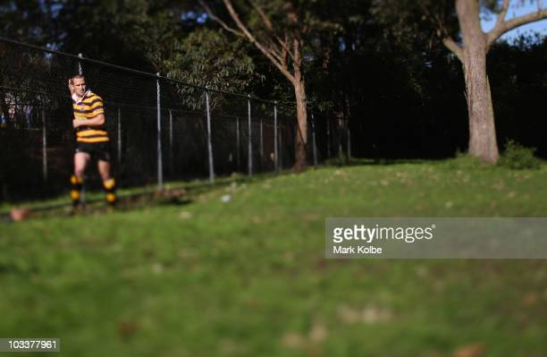 Matt Giteau of Balmain stretches during the warmup before the round 17 third division NSW Suburban Rugby Union match between Balmain and Epping at...