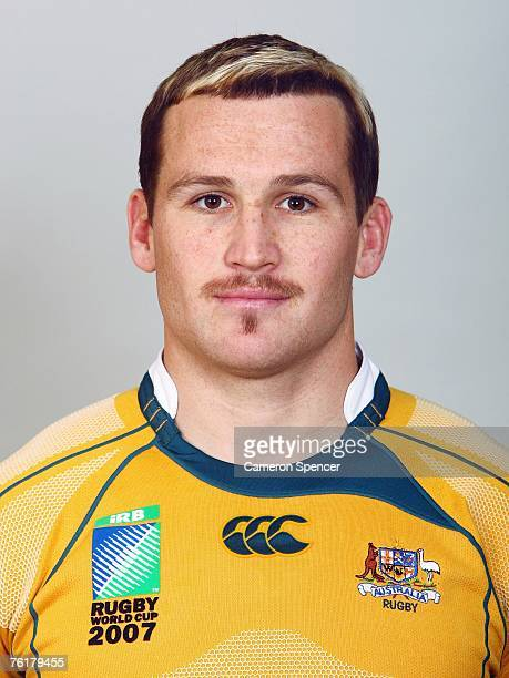 Matt Giteau of the Wallabies poses during the Austraian Wallabies Rugby World Cup 2007 headshots photo session at Crowne Plaza Coogee on August 20...