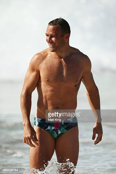 Matt Giteau of the Wallabies walks from the water during an Australia Wallabies recovery session at Coogee Beach on August 9 2015 in Sydney Australia