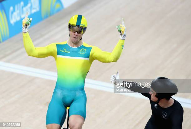 Matt Glaetzer of Australia celebrates winning gold in the Men's Keirin Finals during the Cycling on day two of the Gold Coast 2018 Commonwealth Games...