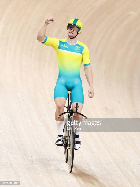 Matt Glaetzer of Australia celebrates winning the Men's 1000m Time Trial during Cycling on day four of the Gold Coast 2018 Commonwealth Games at Anna...