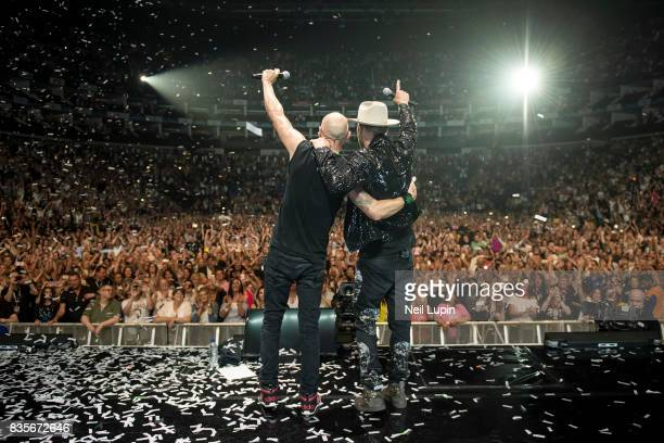 Matt Goss and Luke Goss of Bros perform at The O2 Arena on August 19 2017 in London England