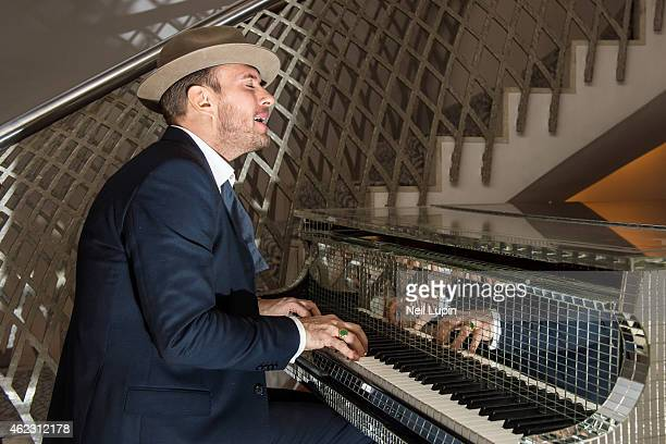 Matt Goss plays a piano once owned by Liberace in the Dorchester Hotel after performing a one off Emergency Show in The Dorchester Ballroom with his...