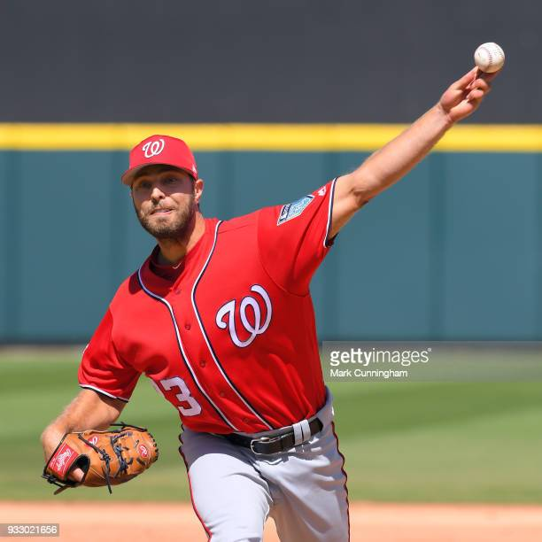Matt Grace of the Washington Nationals pitches during the Spring Training game against the Detroit Tigers at Publix Field at Joker Marchant Stadium...