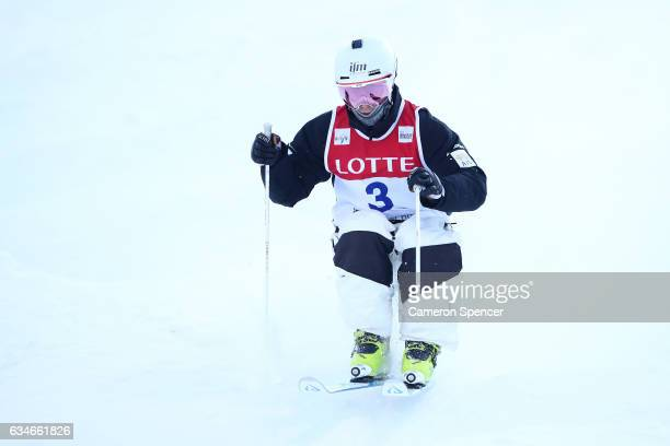Matt Graham of Australia competes in the FIS Freestyle Ski World Cup 2016/17 Mens Moguls Qualification at Bokwang Snow Park on February 11 2017 in...