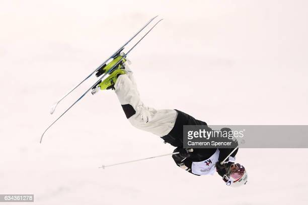 Matt Graham of Australia performs an air during a men's moguls training session prior to the FIS Freestyle World Cup at Bokwang Snow Park on February...