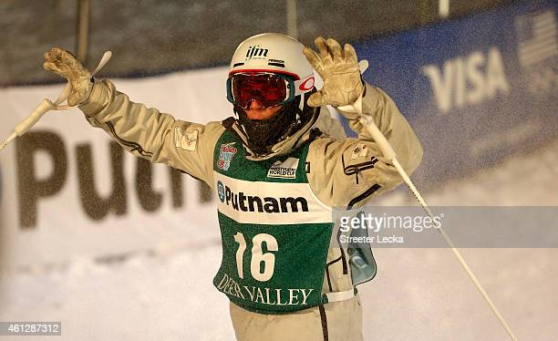 Matt Graham of Australia reacts after his run in the men's moguls final during the 2015 FIS Freestyle Ski World Cup at Deer Valley on January 9 2015...