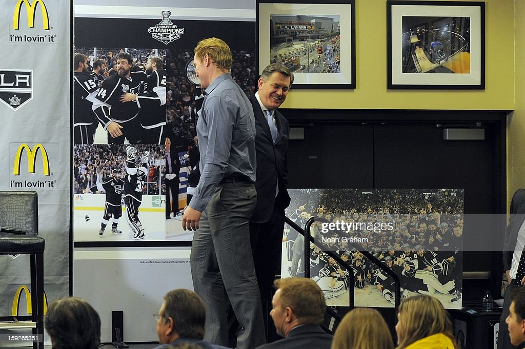 Matt Green and Tim Leiweke shake hands as the Los Angeles Kings kick-off the club's 2012-13 Regular Season with a press conference featuring Kings Governor Tim Leiweke, President/General Manager Dean Lombardi , President, Business Operations Luc Robitaille and Head Coach Darryl Sutter at Staples Center on January 10, 2013 in Los Angeles, California.