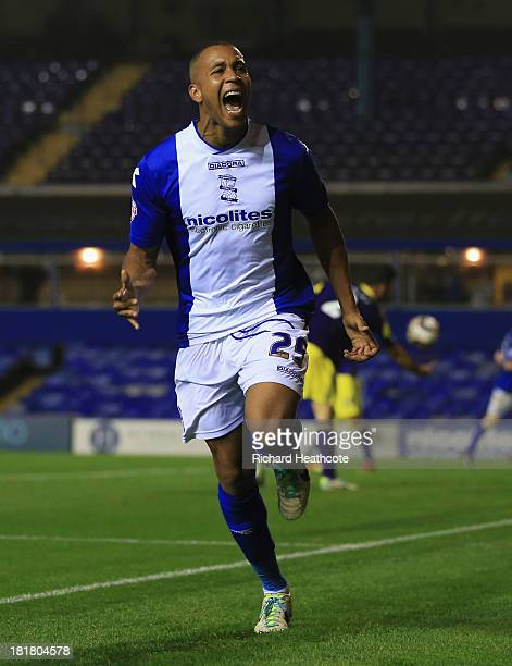 Matt Green of Birmingham City celebrates as he scores their second goal during the Capital One Cup Third Round match between Birmingham City and...
