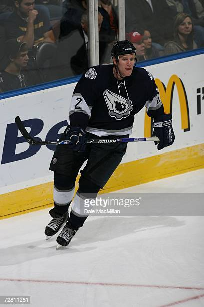 Matt Greene of the Edmonton Oilers skates against the Detroit Red Wings at Rexall Place on November 18 2006 in Edmonton Alberta Canada The Oilers won...