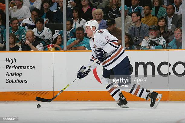 Matt Greene of the Edmonton Oilers skates with the puck during Game 2 of the Western Conference Semifinals against the San Jose Sharks on May 8, 2006...