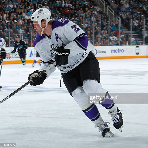 Matt Greene of the Los Angeles Kings skates up the ice against the San Jose Sharks in Game 5 of the Western Conference Quarterfinals during the NHL...