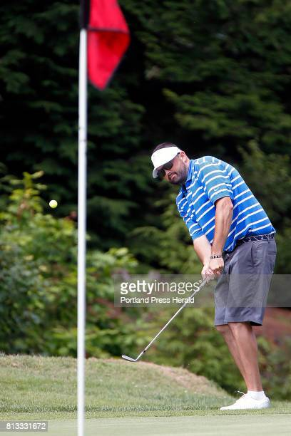 Matt Greenleaf chips onto the green on the final hole during the opening round of the Maine Amateur golf tournament at Brunswick Golf Club Greenleaf...