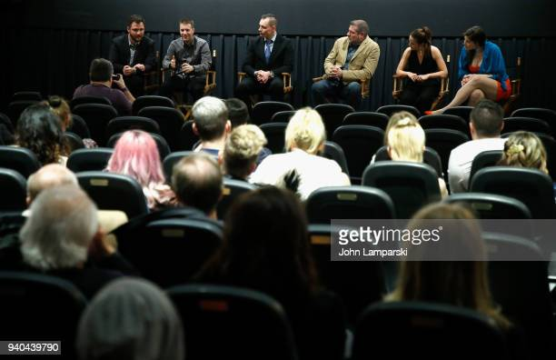 Matt Grego Cory Green Keith Collins Doug Bollinger Annelise Nielsen and Timothy Laurel Harrison attend 'The Samaritans' New York premiere at...