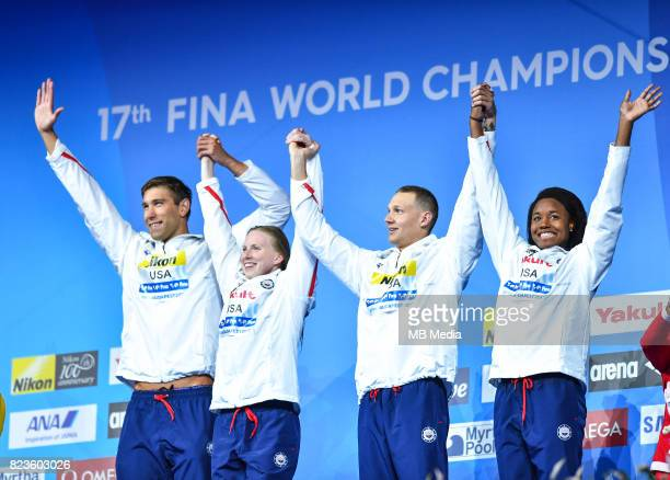 Matt Grevers Lily King Caeleb Remel Dressel Simone Manuel during the Budapest 2017 FINA World Championships on July 26 2017 in Budapest Hungary