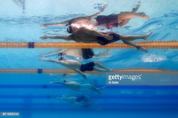 Matt Grevers of the United States Ryan Murphy of the United States and Guilherme Guido of Brazil competes during the Men's 100m Backstroke Semifinals...