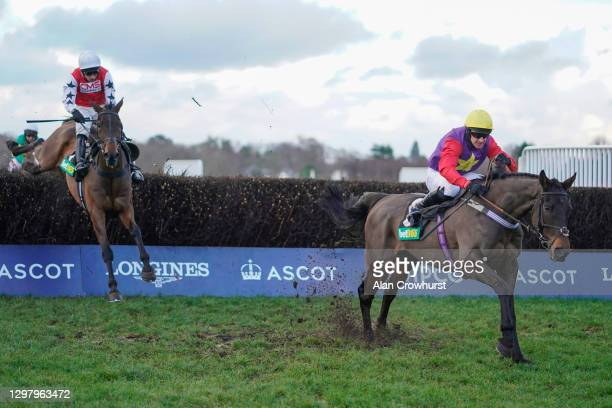 Matt Griffiths riding Dashel Dasher clear the last to win The bet365 Handicap Chase at Ascot Racecourse on January 23, 2021 in Ascot, England. Due to...