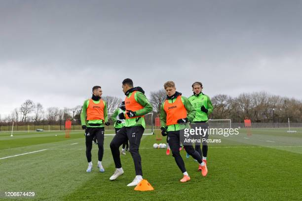 Matt Grimes Ben Cabango Jake Bidwell and Conor Gallagher in action during the Swansea City Training Session at The Fairwood Training Ground on March...