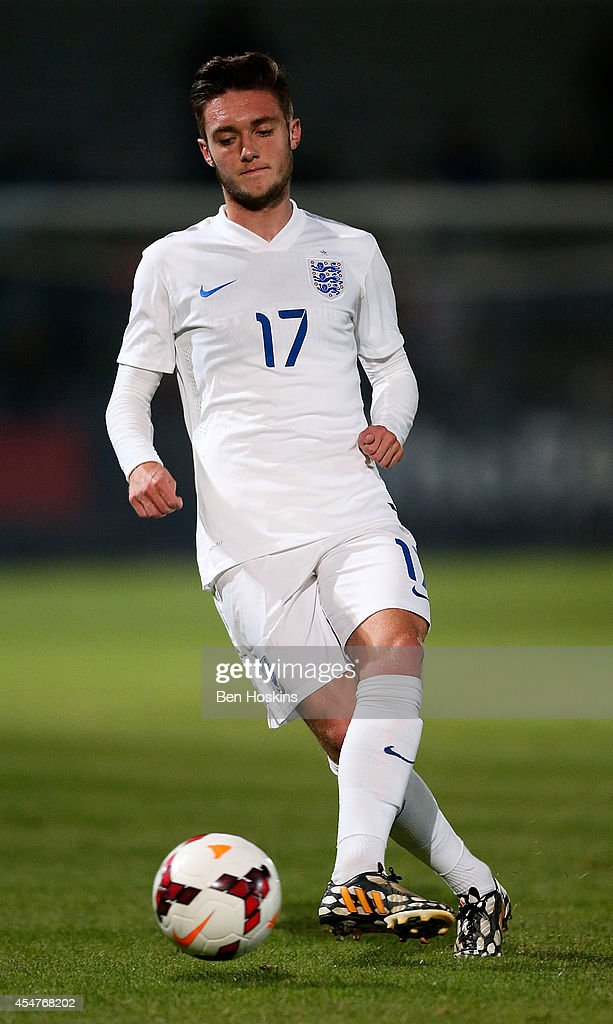 Matt Grimes of England in action during the U20 International friendly match between England and Romania on September 5, 2014 in Telford, England.