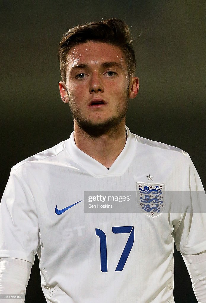 Matt Grimes of England look on during the U20 International friendly match between England and Romania on September 5, 2014 in Telford, England.