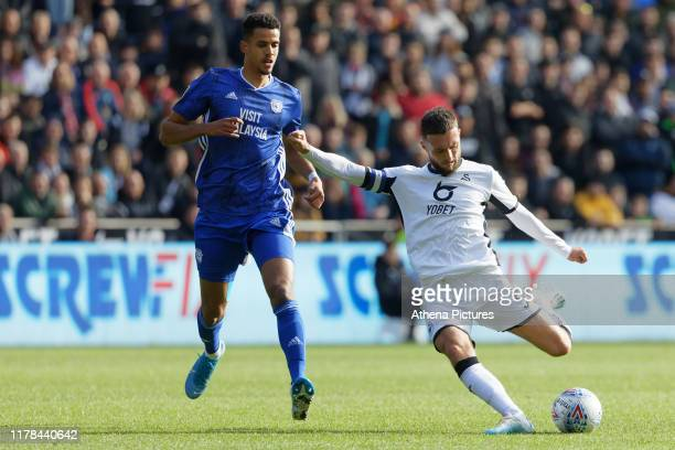 Matt Grimes of Swansea City in action during the Sky Bet Championship match between Swansea City and Cardiff City at the Liberty Stadium on October...