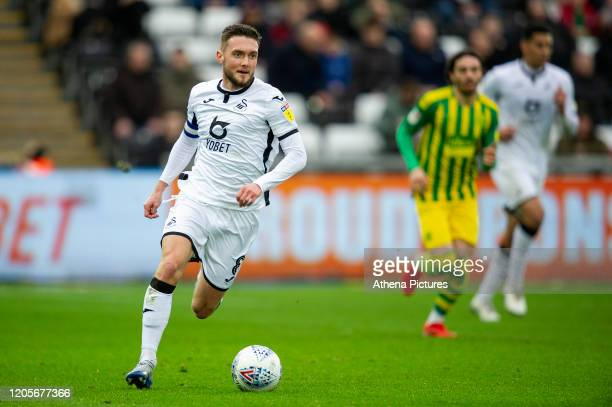 Matt Grimes of Swansea City in action during the Sky Bet Championship match between Swansea City and West Bromwich Albion at the Liberty Stadium on...