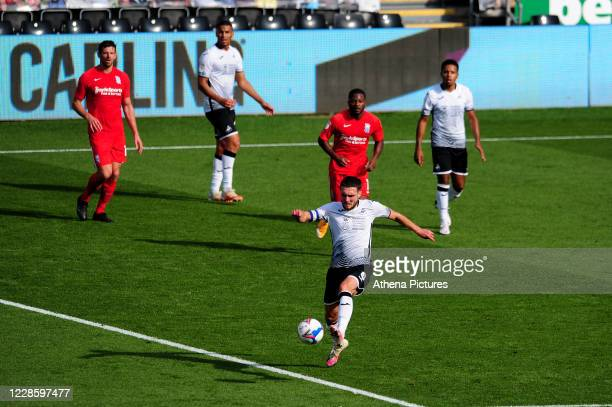 Matt Grimes of Swansea City in action during the Sky Bet Championship match between Swansea City and Birmingham City at the Liberty Stadium on...