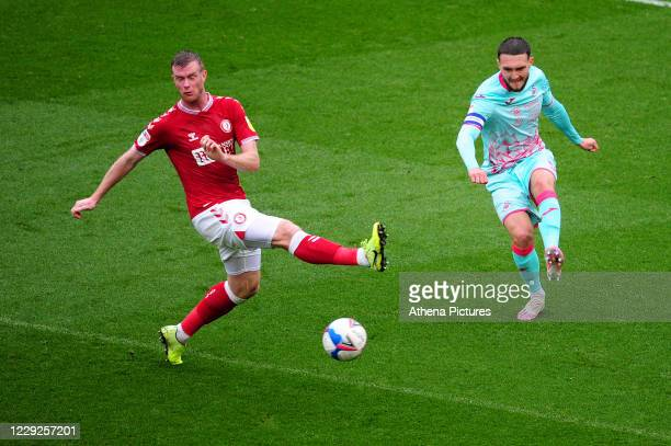 Matt Grimes of Swansea City in action during the Sky Bet Championship match between Bristol City and Swansea City at Ashton Gate on October 24 2020...
