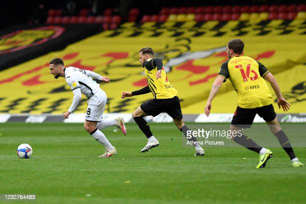 Matt Grimes of Swansea City in action during the Sky Bet Championship match between Watford and Swansea City at Vicarage Road on May 08, 2021 in...