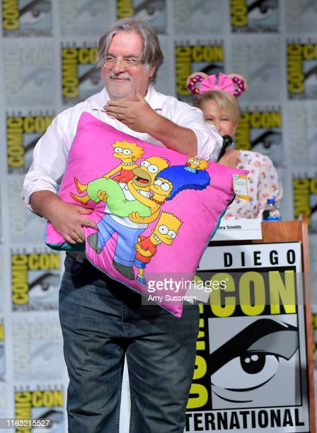 Matt Groening and Yeardley Smith speak at The Simpsons Panel during 2019 ComicCon International at San Diego Convention Center on July 20 2019 in San...