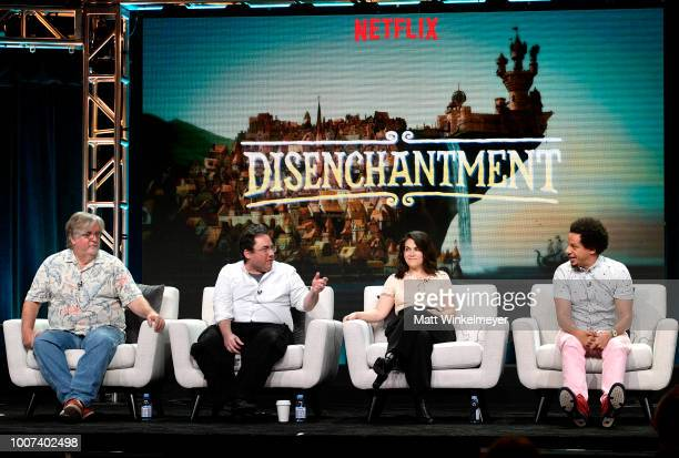 Matt Groening Josh Weinstein Abbi Jacobson and Eric Andre of 'Disenchantment' speak onstage during Netflix TCA 2018 at The Beverly Hilton Hotel on...