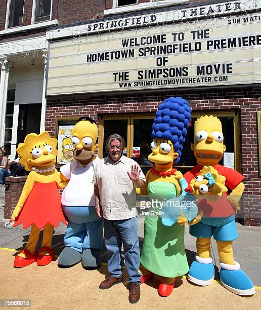 Matt Groening with The Simpsons characters at the premiere of The Simpsons Movie at the Springfield Theater in Springfield Vermont on July 21 2007