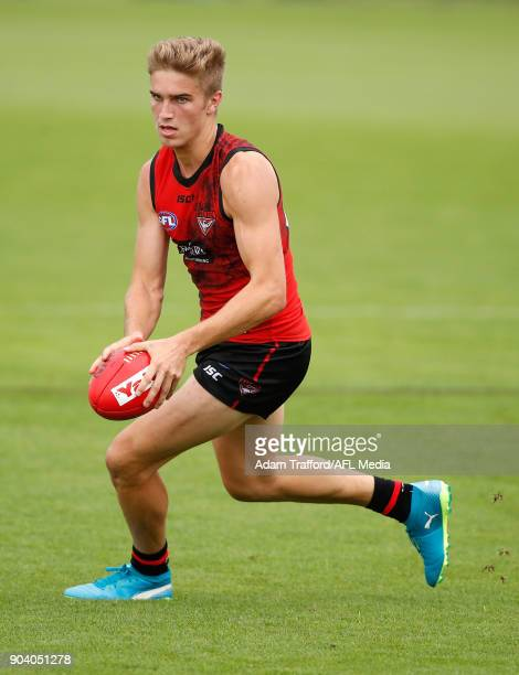 Matt Guelfi of the Bombers in action during the Essendon Bombers training session at The Hangar on January 12 2018 in Melbourne Australia