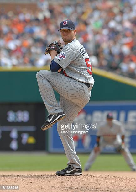 Matt Guerrier of the Minnesota Twins pitches during the game against the Detroit Tigers at Comerica Park in Detroit Michigan on May 25 2008 The Twins...