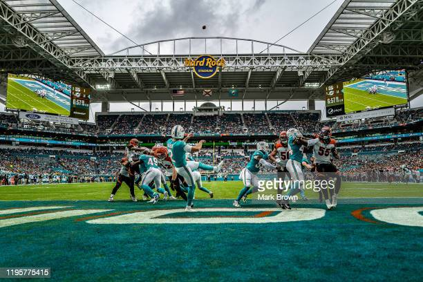 Matt Haack of the Miami Dolphins punts the ball against the Cincinnati Bengals in the second quarter at Hard Rock Stadium on December 22 2019 in...