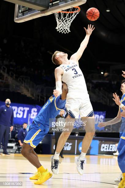 Matt Haarms of the Brigham Young Cougars throws up a shot against the UCLA Bruins in the first round game of the 2021 NCAA Men's Basketball...