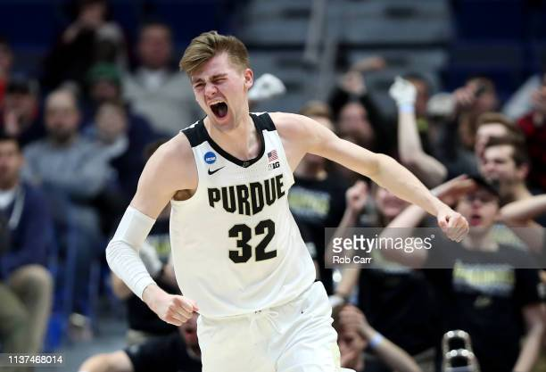 Matt Haarms of the Purdue Boilermakers celebrates after a play in the second half against the Old Dominion Monarchs during the 2019 NCAA Men's...