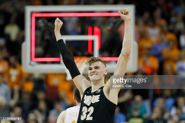 Matt Haarms of the Purdue Boilermakers celebrates after defeating Tennessee Volunteers in overtime of the 2019 NCAA Men's Basketball Tournament South...