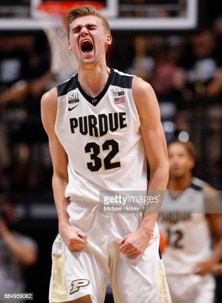 Matt Haarms of the Purdue Boilermakers celebrates after the game against the Northwestern Wildcats at Mackey Arena on December 3 2017 in West...