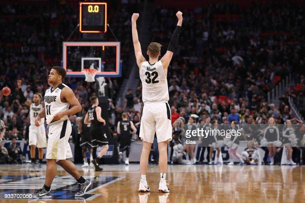Matt Haarms of the Purdue Boilermakers celebrates defeating the Butler Bulldogs 7673 in the second round of the 2018 NCAA Men's Basketball Tournament...