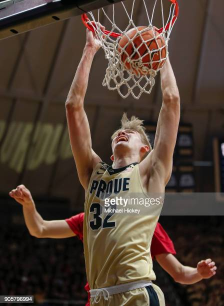 Matt Haarms of the Purdue Boilermakers dunks the ball against the Wisconsin Badgers at Mackey Arena on January 16 2018 in West Lafayette Indiana