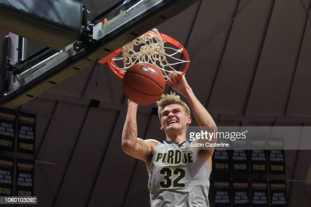 Matt Haarms of the Purdue Boilermakers dunks the ball in the game against the Ball State Cardinals at Mackey Arena on November 10 2018 in West...