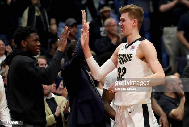 Matt Haarms of the Purdue Boilermakers is subbed out against the Villanova Wildcats in the second half during the second round of the 2019 NCAA Men's...