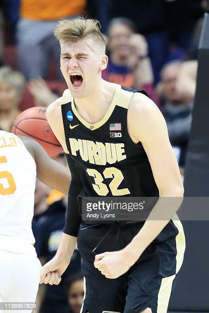 Matt Haarms of the Purdue Boilermakers reacts after a dunk against the Tennessee Volunteers during overtime of the 2019 NCAA Men's Basketball...