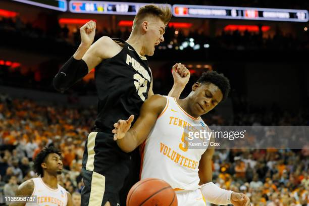 Matt Haarms of the Purdue Boilermakers reacts after a dunk over Admiral Schofield of the Tennessee Volunteers during overtime of the 2019 NCAA Men's...