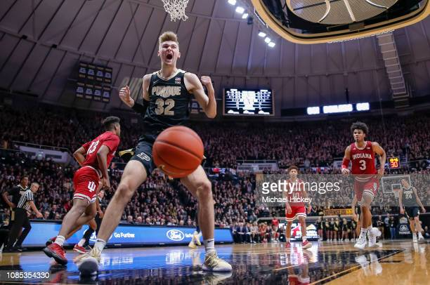 Matt Haarms of the Purdue Boilermakers reacts after dunking the ball against the Indiana Hoosiers in the second half of the game at Mackey Arena on...